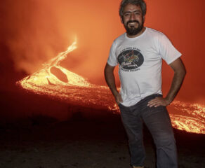 this photo shows David Garcia of Pizza Pacaya standing at a volcano where he makes his pizzas in Guatemala