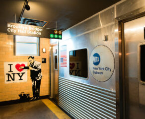 this photo shows the New York subway-themed bathroom at Two Cities Pizza