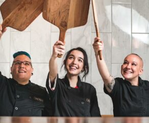 this photo shows the all-woman pizza-making team at Zio Peppe restaurant in Tucson.