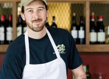 this photo shows Gabe Barker, who is requiring proof of vaccination at his restaurant, Pizzeria Mercato