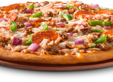 this photo shows LaRosa's Deluxe Pizza made with plant-based toppings