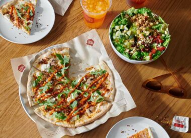 this photo shows a new pizza from MOD Pizza featuring plant-based Italian sausage