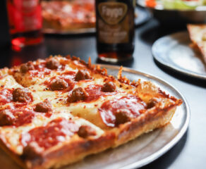 this is a photo of a Detroit-style pepperoni pizza made at Via 313 in Austin, Texas