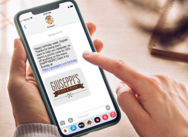 this photo shows an example of an effective pizzeria marketing text message on a phone screen