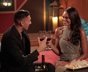 this photo shows Peter Izzo and Michelle Young of The Bachelorette