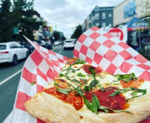 this photo shows a slice of the best pizza in Bushwick, Brooklyn, from Tony's Pizzeria and Restaurant